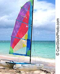 A colourful windsurf in Punta Cana, Domican Republic