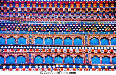 The Colourful Bhutanese Texture made by wood