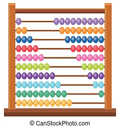 Colourful wooden abacus on white backgroud illustration