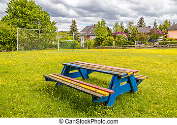 Colourful wooden bench