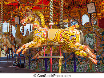 Carousel Horse - Colourful wooden painted Carousel Horse