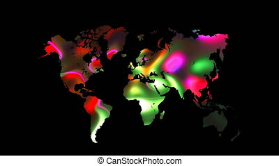 Colourful world map on black background, flat Earth, globe worldmap icon, 3d render backdroung