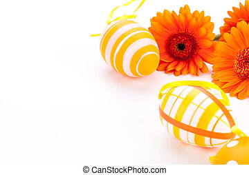 Colourful yellow decorated Easter eggs