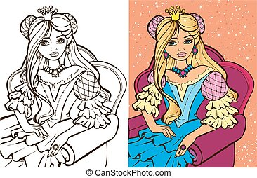 Colouring Book Of Blonde Princess - Colouring book vector...