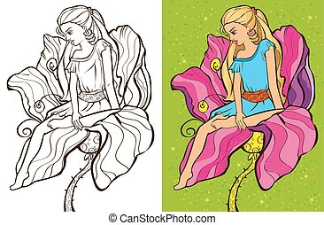 Colouring book vector illustration of beautiful girl sitting on a flower