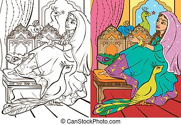 Colouring Book Of Easten Princess - Colouring book vector...