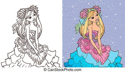Colouring Book Of Girl In Flower Dress