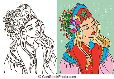 Colouring Book Of Girl In Kokoshnik - Colouring book vector...