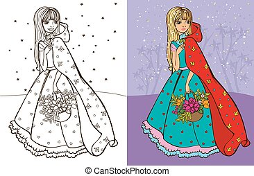 Colouring Book Of Girl In Red Coat - Colouring book vector...
