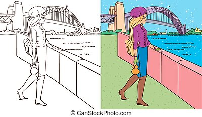 Colouring Book Of Girl Near Bridge - Colouring book vector...