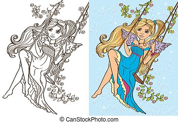 Colouring Book Of Girl Rid On Swing - Colouring book vector...