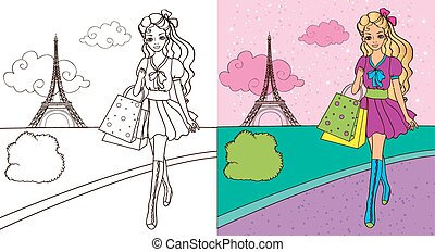 Colouring Book Of Girl Shopping - Colouring book vector...