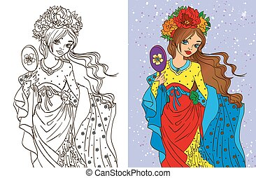 Colouring Book Of Girl With Mirror - Colouring book vector...