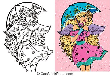 Colouring Book Of Girl With Umbrella - Colouring book vector...