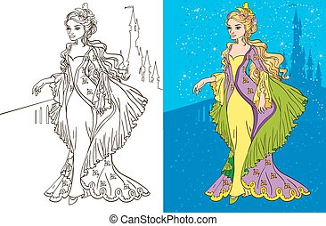 Colouring Book Of Princess And Castle