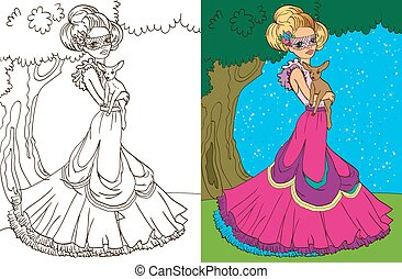 Colouring Book Of Princess In Forest - Colouring book vector...