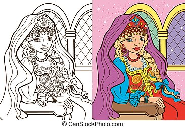 Colouring Book Of Russian Princess - Colouring book vector...