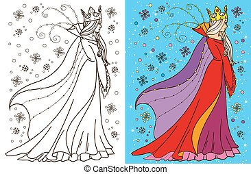 Colouring Book Of Snow Queen - Colouring book vector...