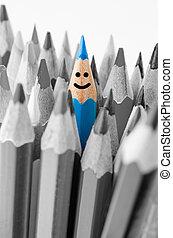 Colouring crayon pencils. Leadership concept.