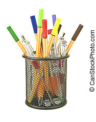 colouring pens and junk in desk tidy