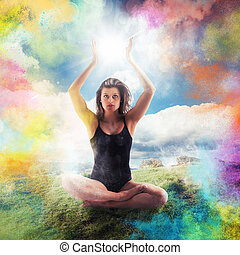 Colours and relax - Woman in yoga position with colored...