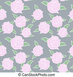 colours., blomster, pastel, ornamentere, roser, seamless, vektor, blomst, lyserød, patern.