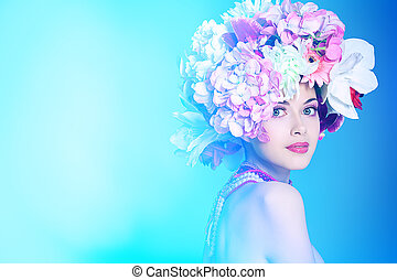 colours head - Portrait of a beautiful spring girl wearing...