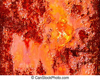 Close up of a rusty pole. Rust is a general term for describing iron oxides. In colloquial usage, the term is applied to red oxides, formed by the reaction of iron and oxygen in the presence of water or air moisture.