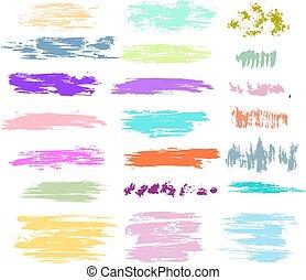 colpi, colori pastelli, set, spazzola
