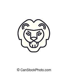 colpi, editable, segno, illustrazione, ruggito, leone, vettore, icona, linea, fondo