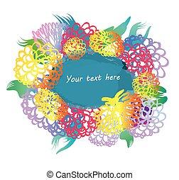colpi, grunge, spazzola, fiori, blu, macchia, text., posto, -, floreale, frame., leaf., vettore, marino, vernice, wreath., cornice