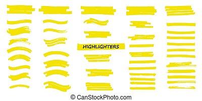 colpi, pennarello, giallo, highlighters