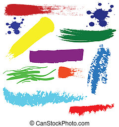 colpi, set, vettore, spazzola, colorito