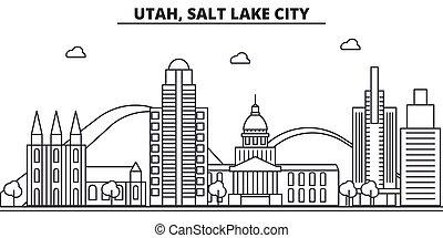 colpi, viste, disegno, cityscape, lago, paesaggio, vettore, skyline città, lineare, editable, icons., limiti, linea, utah, architettura, illustration., sale, famoso, wtih