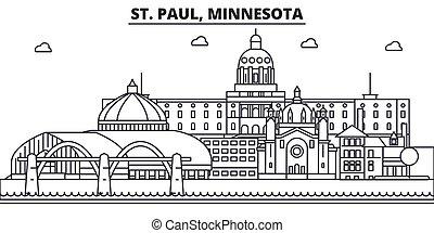 colpi, viste, disegno, cityscape, paesaggio, vettore, orizzonte, città, lineare, editable, icons., limiti, linea, minnesota, st., architettura, illustration., famoso, wtih, paul