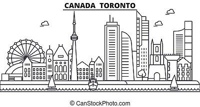 colpi, viste, disegno, cityscape, paesaggio, vettore, sagoma toronto, città, canada, lineare, editable, icons., limiti, linea, architettura, illustration., famoso, wtih