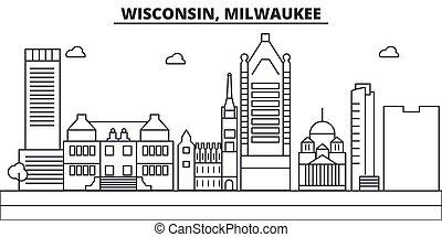 colpi, viste, disegno, cityscape, paesaggio, vettore, skyline città, lineare, editable, icons., wisconsin, limiti, linea, architettura, illustration., famoso, wtih, milwaukee