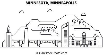 colpi, viste, disegno, minneapolis, cityscape, paesaggio, vettore, orizzonte, città, lineare, editable, icons., limiti, linea, minnesota, architettura, illustration., famoso, wtih
