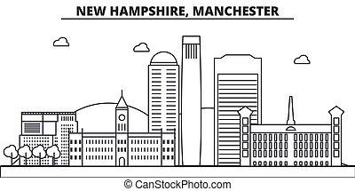 colpi, viste, nuovo, disegno, manchester, cityscape, paesaggio, vettore, orizzonte, città, lineare, editable, icons., limiti, linea, architettura, illustration., famoso, wtih, hampshire