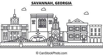 colpi, viste, savana, disegno, cityscape, paesaggio, vettore, orizzonte, città, lineare, editable, icons., limiti, linea, georgia, architettura, illustration., famoso, wtih