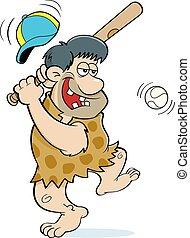 colpire, caveman, baseball., cartone animato