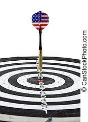 colpire, centro, stati uniti, freccetta, fletching, bandiera, cerchio, bersaglio