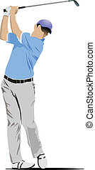 colpire, golfista, palla, ferro, club.