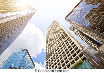 colpo angolare basso, di, moderno, vetro, città, costruzioni