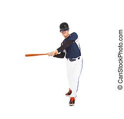 colpo, bat., sopra, giocatore, baseball, white., studio