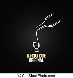 colpo, bottiglia, menu, liquore, vetro, disegno, fondo