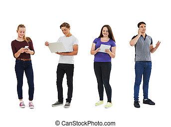 colpo, comunicazione, adolescenti, studio, usando, tecnologia