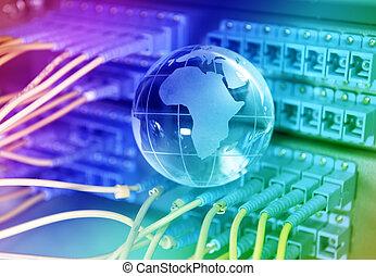 colpo, di, rete, cavi, e, sistema servizio, in, uno,...