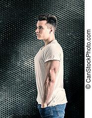 colpo, giovane, muscolare, studio, bello, uomo