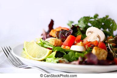colpo, insalata, alto, campo, profondità, yummy